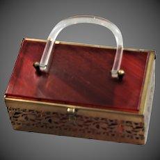Lucite Top & Handle Pierced Brass Box Bag