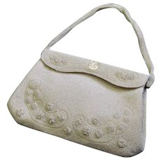 Spectacular Walborg White Beaded Handbag