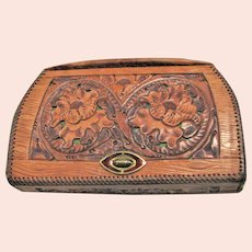 Vintage 1950's Hand Tooled Clutch With A Top Handle Bag