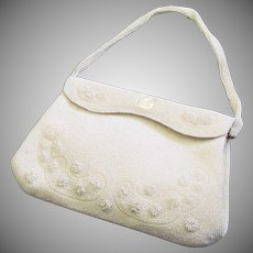 Vintage White Faux Seed Pearl Walborg Cocktail Purse