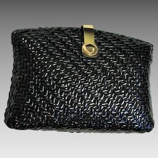 Vintage Brooks Brothers Black Straw Clutch Purse New Unused Condition