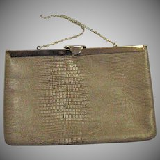 Vintage Snake Imprinted Genuine Leather Clutch Bag With Chain Handle