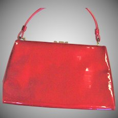 Vintage 1960's Red Patent Top Handle Purse