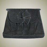 Vintage Black Suede Clutch Purse