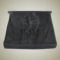 Vintage Black Suede Clutch Purse