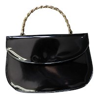 Vintage Top Handle Black Patent Handbag