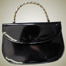 Vintage Top Handle Black Patent Handbag