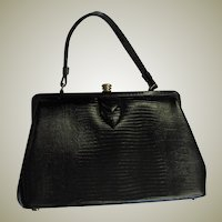 Vintage Kelley Style Black Lizard Bag