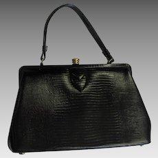 Vintage Kelley Style Black Lizard Bag