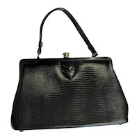Black Vintage Style Kelley Lizard Bag