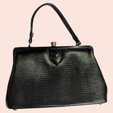 Black Vintage Style Kelley Lizard Bag