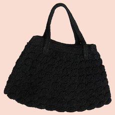 Beautiful 1940's Black Crochet Handbag