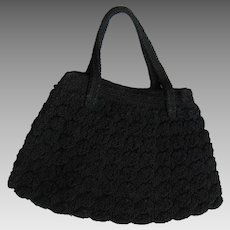 Beautiful 1940's Black Crochet Handbag