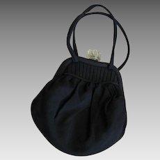 1920's Little Black Fabric Lucite Clasp Bag