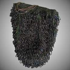 1920's Beaded Bag With Long Chain Handle