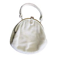 White Beaded Crocheted Top Handle Bag
