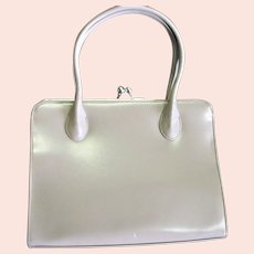Oyster Colored Vinyl Hard Frame Purse