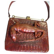 Spectacular Vintage Alligator Top Handle Bag