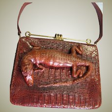 Spectacular Vintage Alligator Top Handle Bag