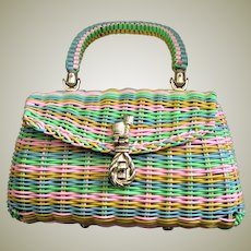 Charming Multi Colored Top Handle Purse