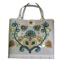 Charming Decorated 1960's Wood Bottom Handbag