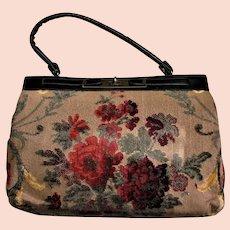 Vintage Carpet/Tapestry Kelley Style Bag