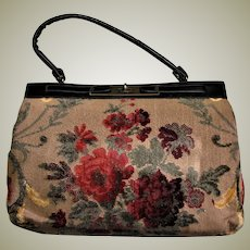 Vintage Carpet/Tapestry Kelley Style Bag