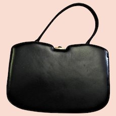 Stunning Black Leather Block Handbag