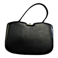 Stunning Black Leather Hard Frame Handbag