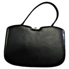 Stunning Black Leather Hard Frame Handbag