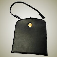 Sweet Black Top Handle Mid Century Handbag