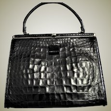 Spectacular Black Alligator Kelley Handbag