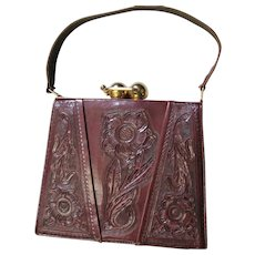 Wonderful Brown Hand Tooled Leather Purse