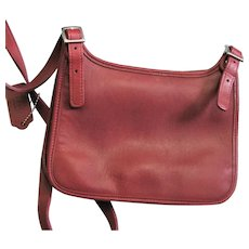 Red Leather Vintage Coach Cross Body Bag