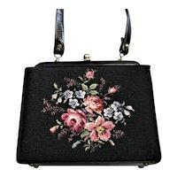 Black Fay Mell Design Flowered Handbag