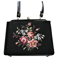 Black Fay Mell Design Flowered Handbag
