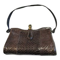 Brown Snake Skin Hard Frame Handbag