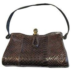 Brown Snake Skin Hard Frame Handbag