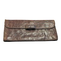 1940's Brown Reptile Clutch Handbag With Fancy Clasp