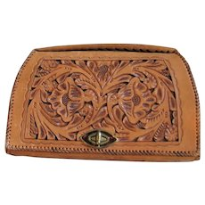 Hand Tooled/Made Tan Leather Purse