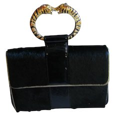 KJL Black Pony Hair Tiger Handle Handbag