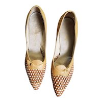 Open Weave Upper Tan Leather Heels