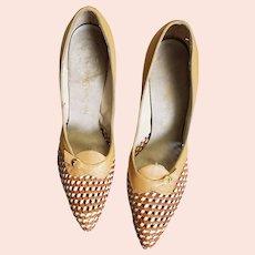 Open Weave Upper Tan Leather Heels