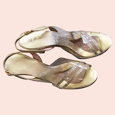 Gold Clear Vinyl & Rhinestone Heels