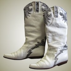 Black & White Snake Print & White Leather Charles David Boots