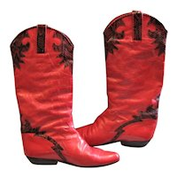 Charles David Red Leather Trimmed Boots