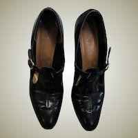 Black Leather Vintage Addres Pumps