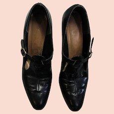 Black Leather Vintage Addres Pumps