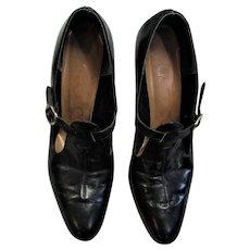 1940's-50's Black Leather Ladies Pumps