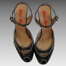 Spectacular Pair Of Miu Miu Wedge Shoes
